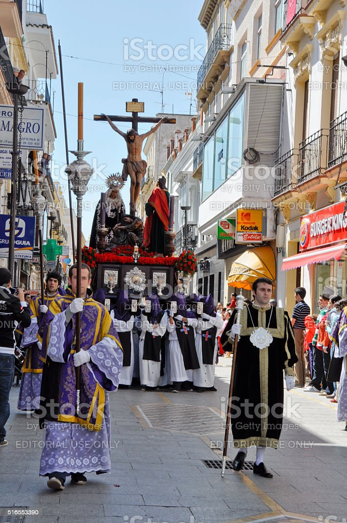 Ronda, Andalusia, Spain, a christian street procession before Easter stock photo