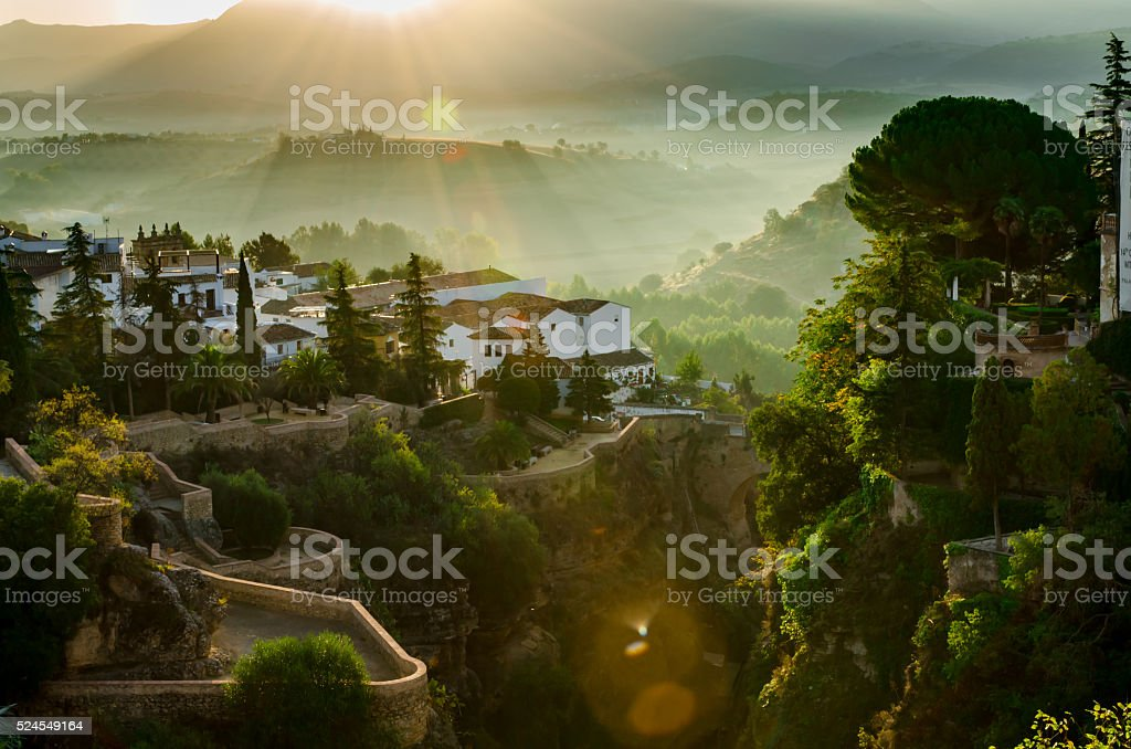 Ronda in the sunrise, Spain stock photo