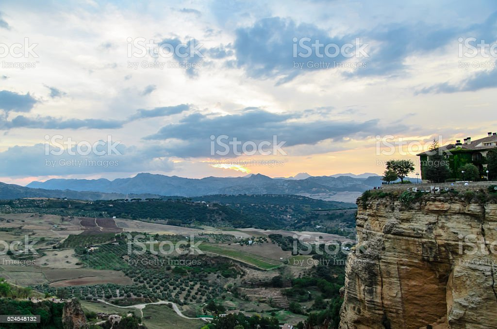 Ronda in the sunset - Hilltop town in Spain stock photo