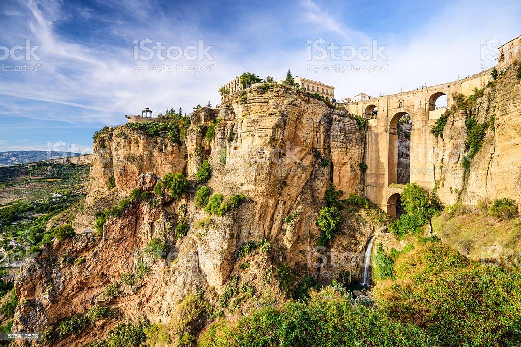 Ronda, Spain at Puento Nuevo Bridge stock photo