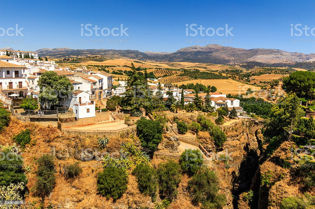 Ronda, Spain old town cityscape on the Tajo Gorge stock photo