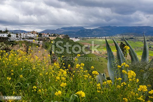 Ronda very popular tourists town located at the top of picturesque El Tajo gorge in Andalusia, Spain