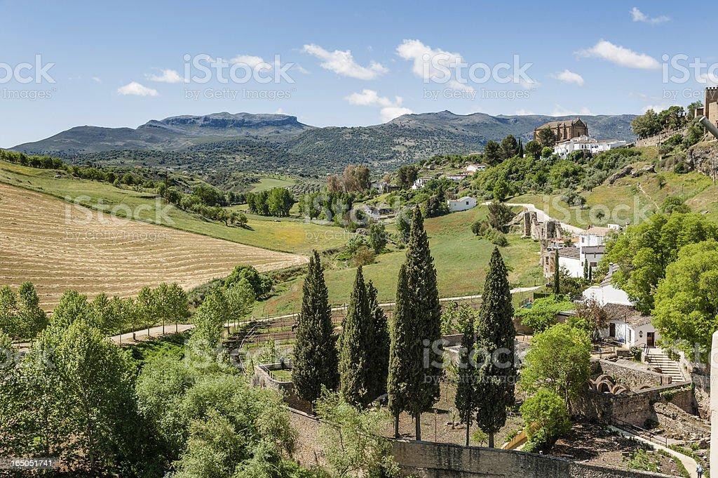 Ronda walls and church of Spiritu Santo. royalty-free stock photo