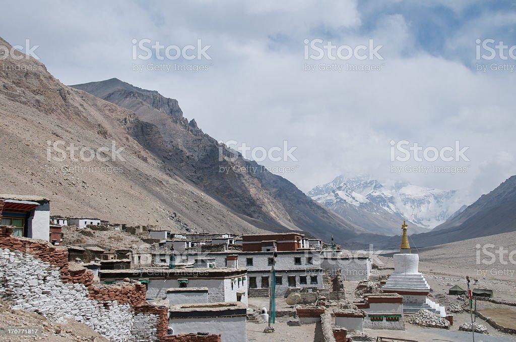Rongphu Monastery at Everest Base Camp royalty-free stock photo