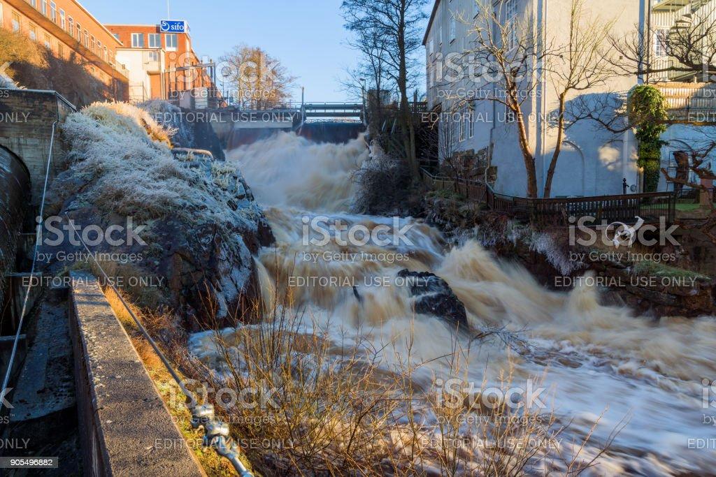 Ronneby waterfall stock photo