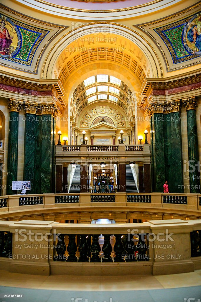 Rontunda inside the Wisconsin State Capitol building in Madison stock photo