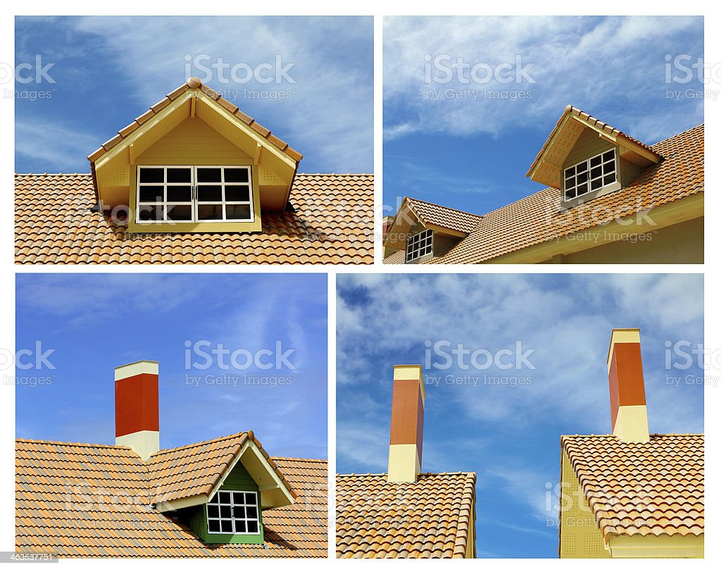Roof and gable of the house stock photo