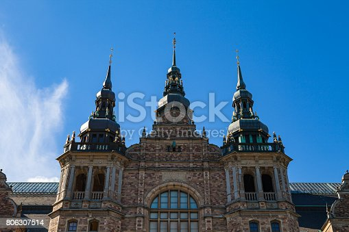 istock Roof and towers of the Nordic Museum Building in sunny day, Stockholm, Sweden 806307514