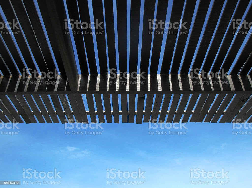 Roof batten under sky stock photo