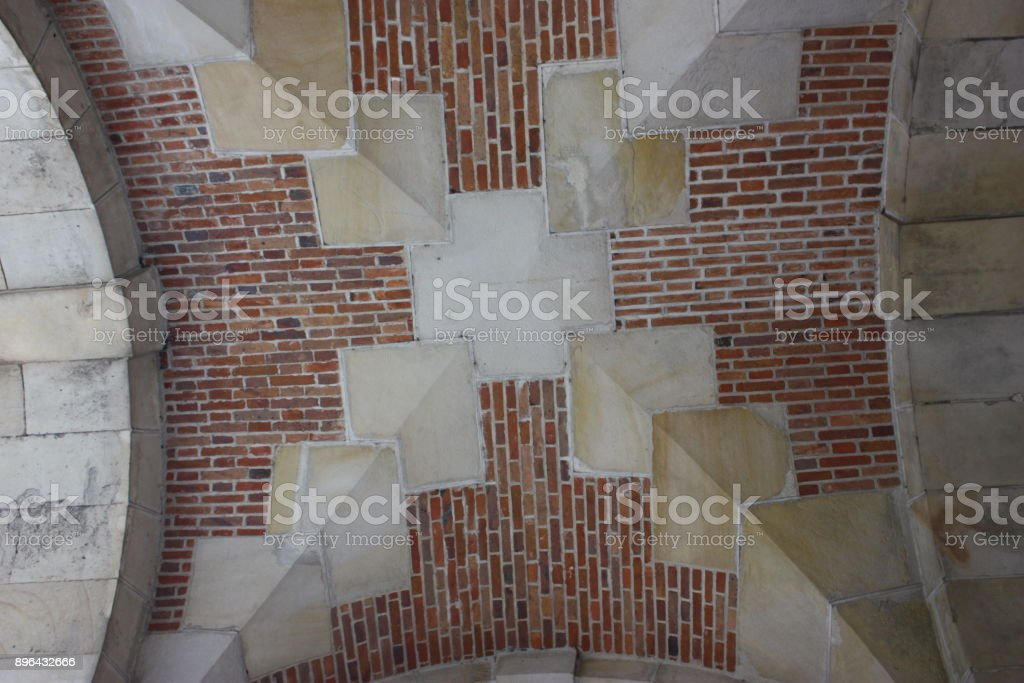 Roof built with bricks and stones stock photo