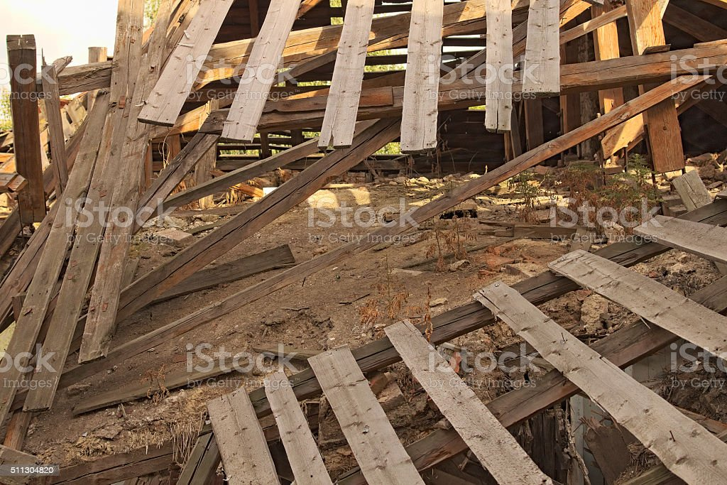 Roof collapses at home stock photo