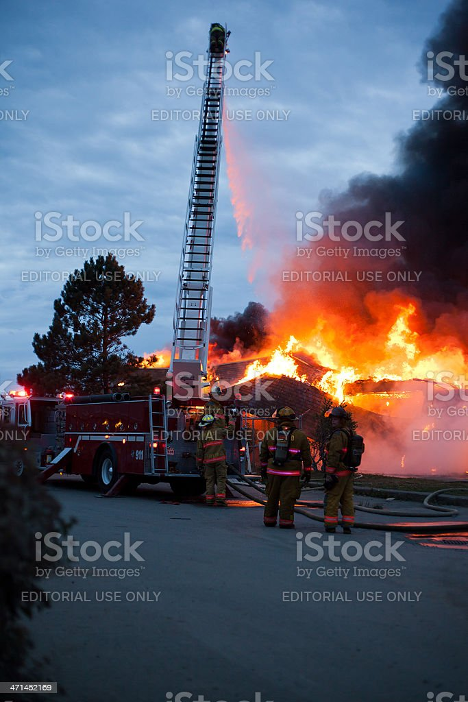 Roof Collapsing on a Burning Building royalty-free stock photo