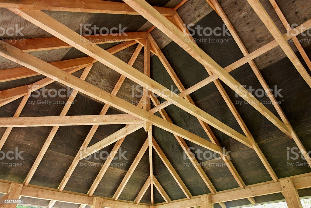 Roof construction stock photo