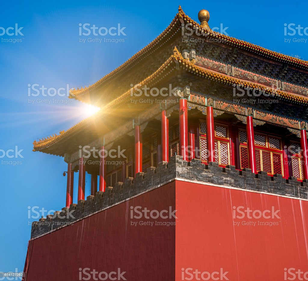 Roof decoration in Forbidden City stock photo