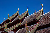 Roof detail of Buddha temple in Chiang mai, Thailand.