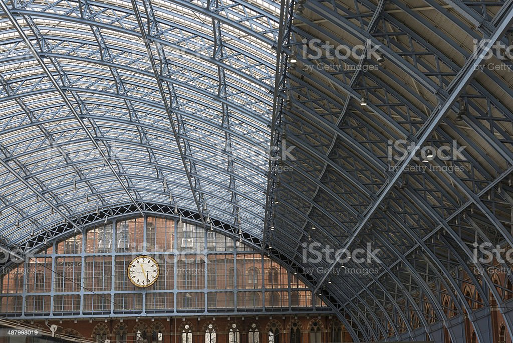 Roof detail of London St Pancras train station stock photo
