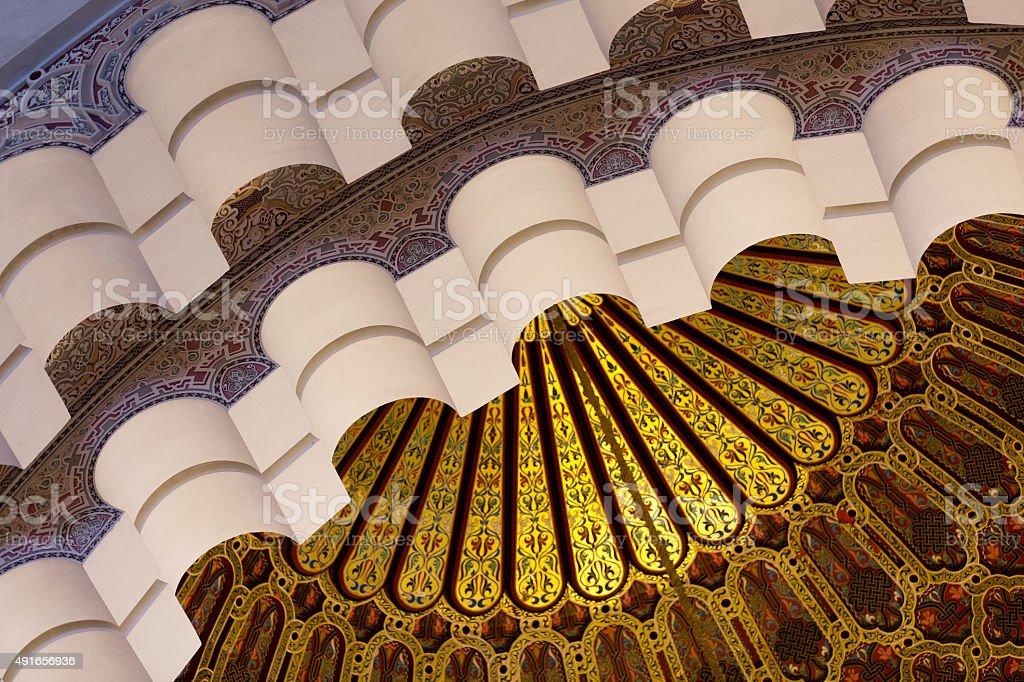Roof detail of Mosque Hassan II in Casablanca stock photo