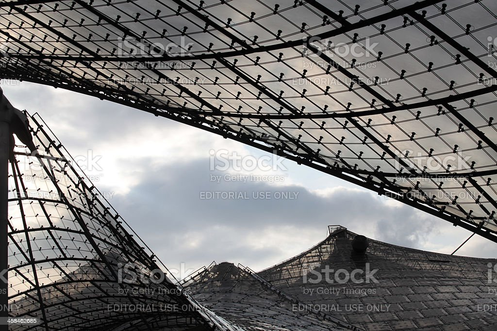 Roof detail of Olympic stadion in Munich stock photo