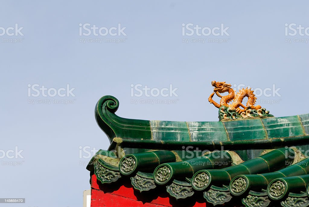 Roof details of a Chinese Temple royalty-free stock photo