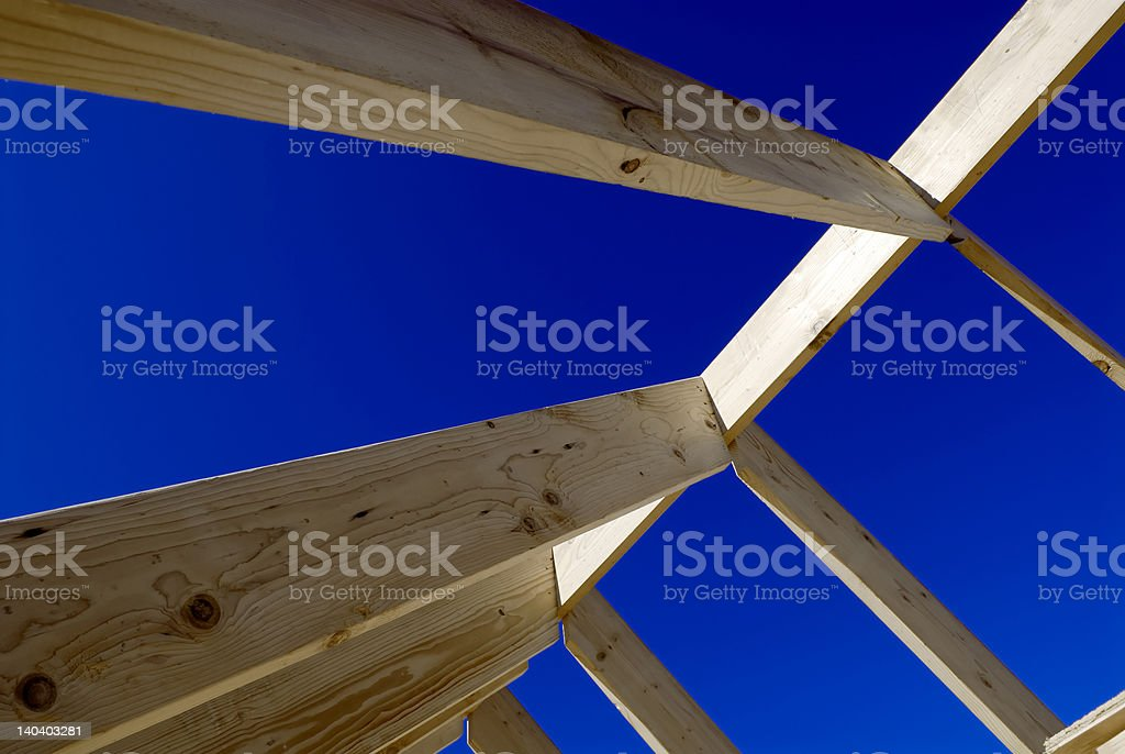 Roof frame and clear blue sky royalty-free stock photo