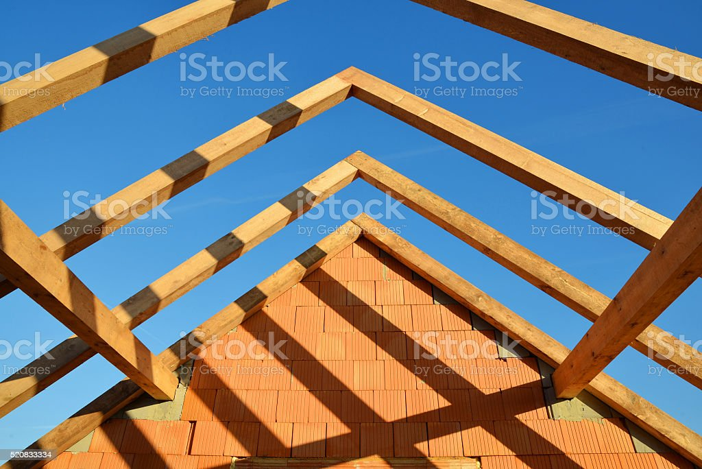 Roof frame rafters. stock photo