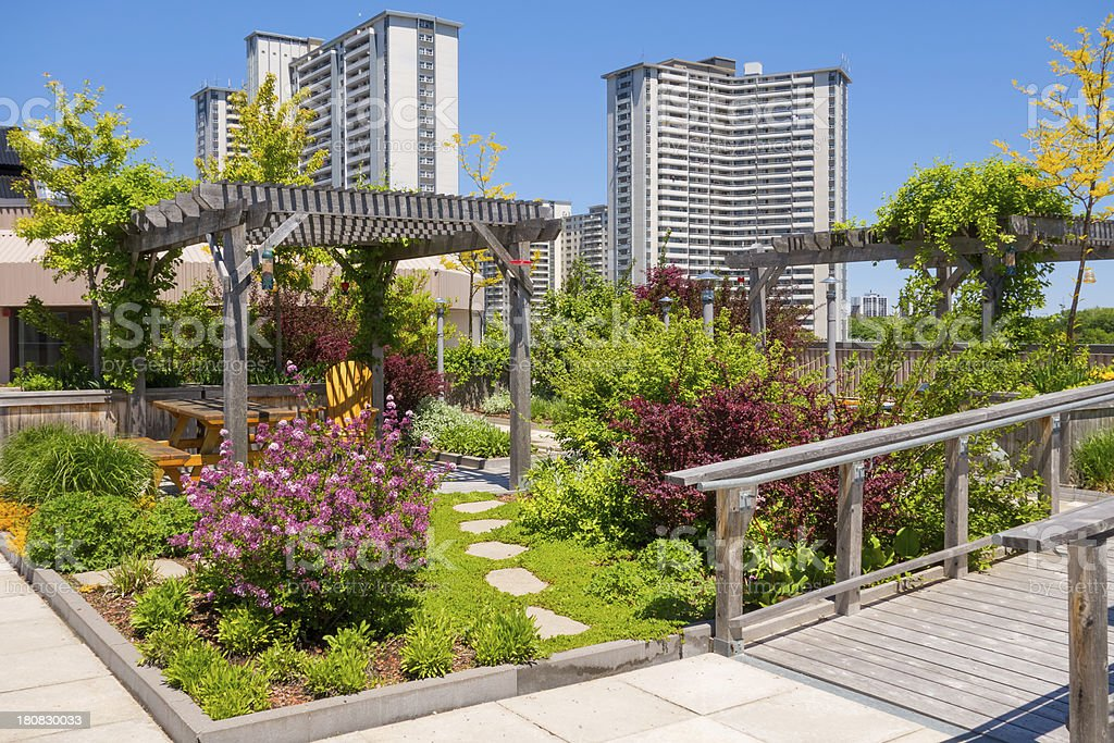 Roof Garden on Top of Apartment Building stock photo