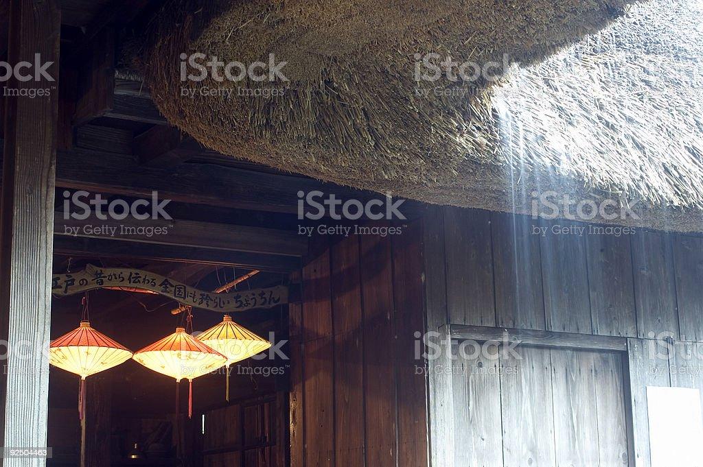 Roof, Lantern and Rain stock photo