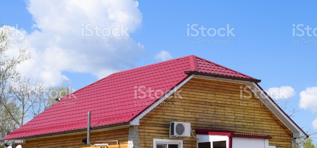 Roof metal sheets stock photo