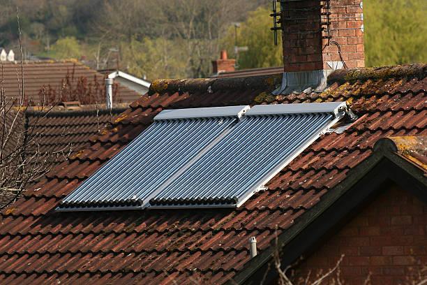 Roof mounted solar panel  whakarewarewa stock pictures, royalty-free photos & images