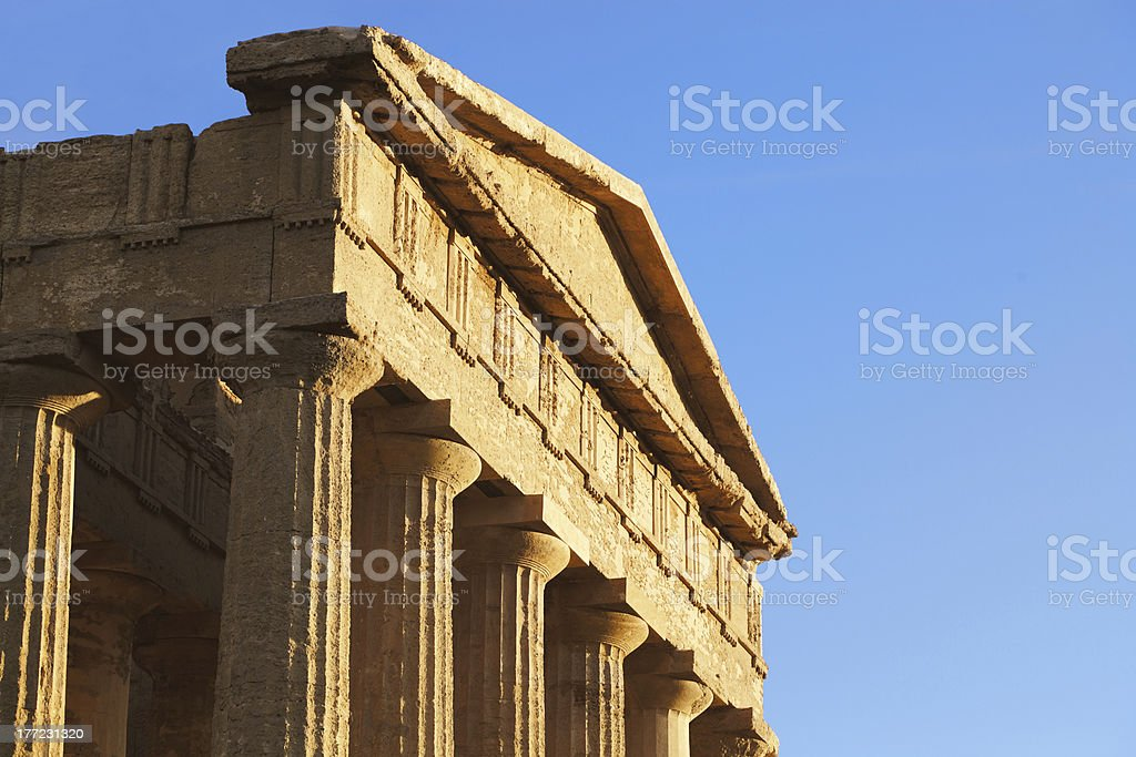 roof of a Greek temple royalty-free stock photo