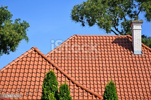 istock Roof of a house and trees 1276614741
