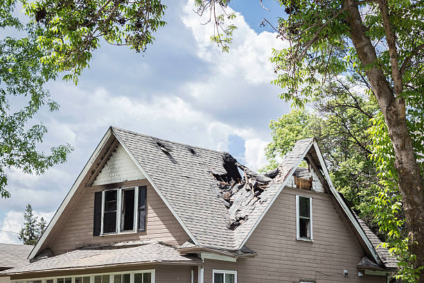roof of a house burned and caved in. - damaged stock photos and pictures