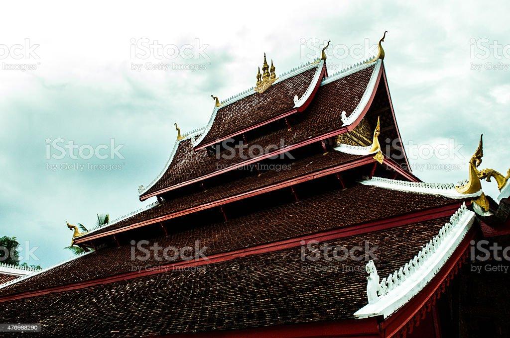 Roof of a temple, Luang Prabang, Laos stock photo
