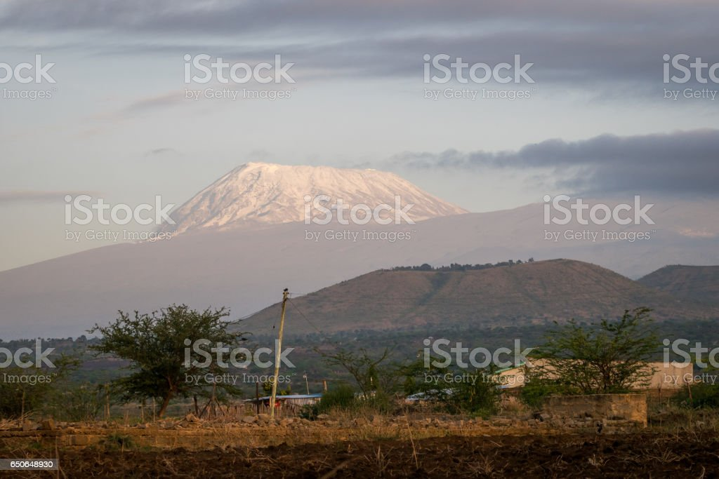 Roof of Africa - Kilimanjaro, Kibo mountain stock photo