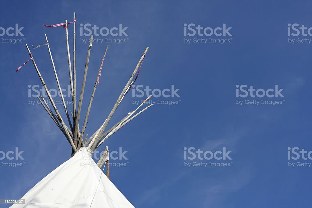 roof of an indian tepee stock photo