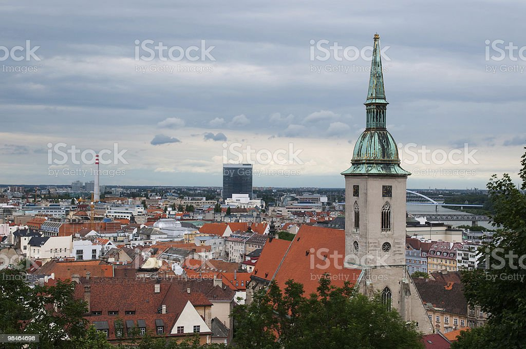 Roof of Bratislava and St. Martin's gothic cathedral royalty-free stock photo