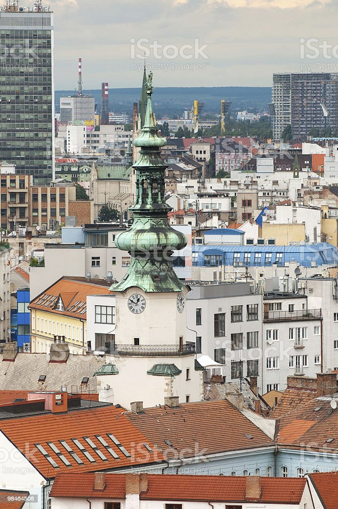 Roof of Bratislava and St. Michael`s gate royalty-free stock photo