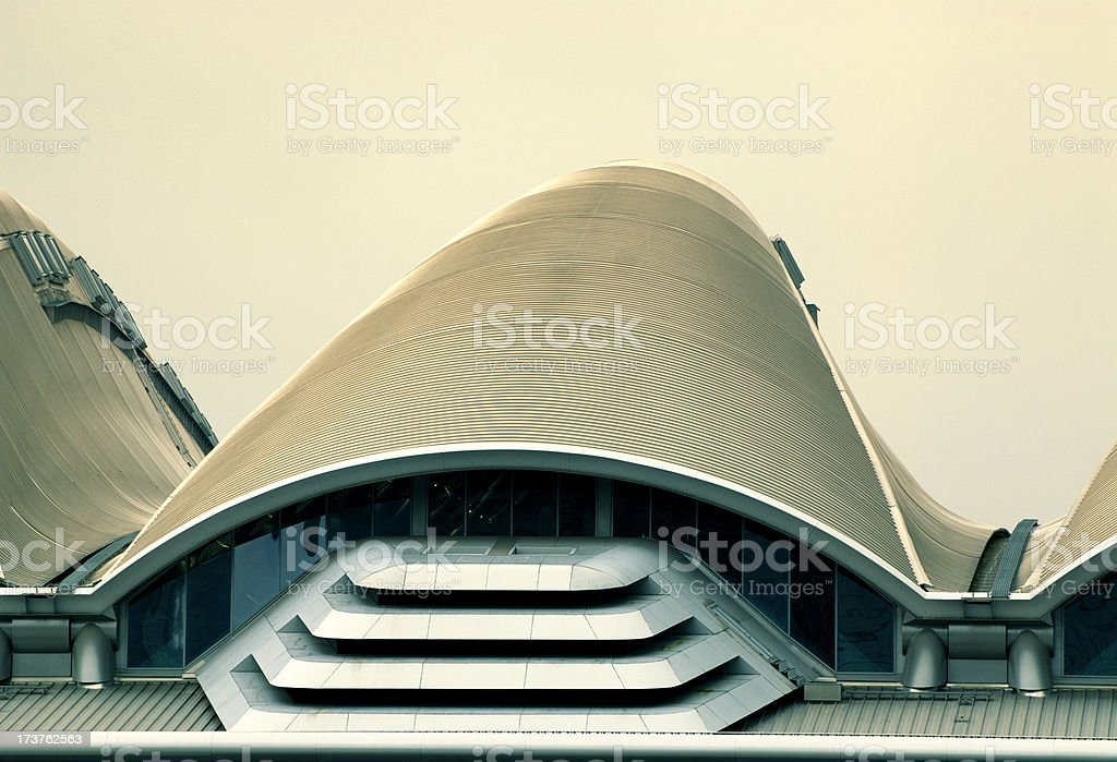 Roof of Building at the Frankfurt Messe Exhibition Grounds stock photo