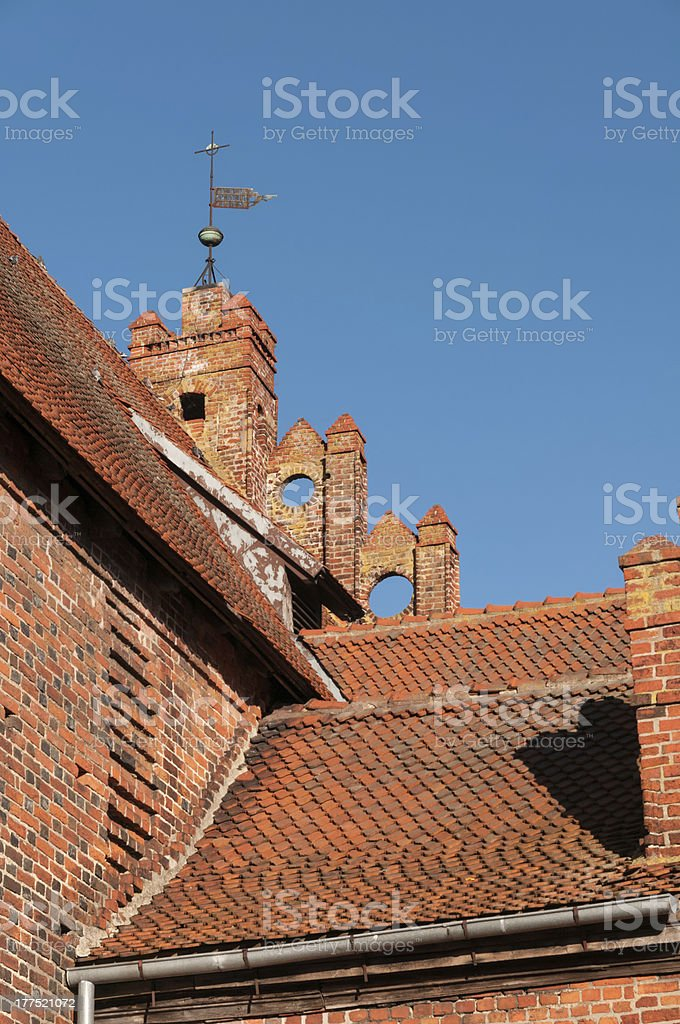 Roof of church St. George in Pravdinsk (earlier Friedland). Kali stock photo