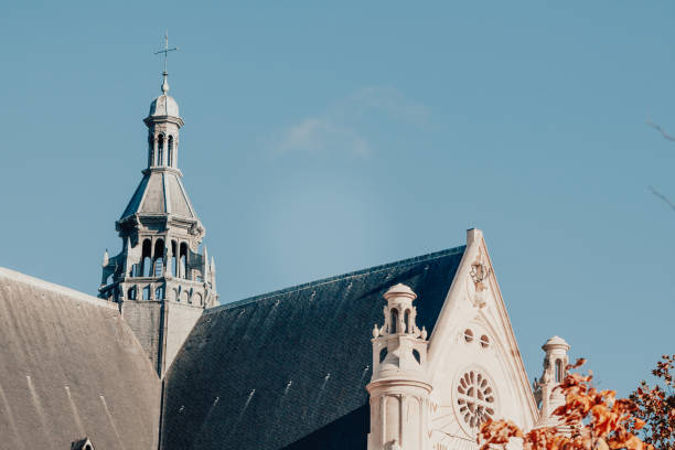 roof of french catholic church eglise saint-eustache in paris. at sunset. - saint eustache church foto e immagini stock