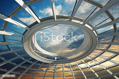 sunset over the roof of a futuristic dome