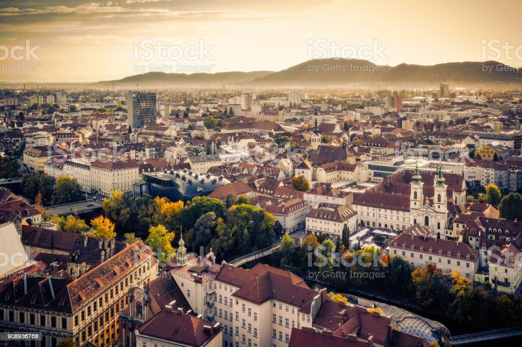 Roof of Graz, Austria stock photo