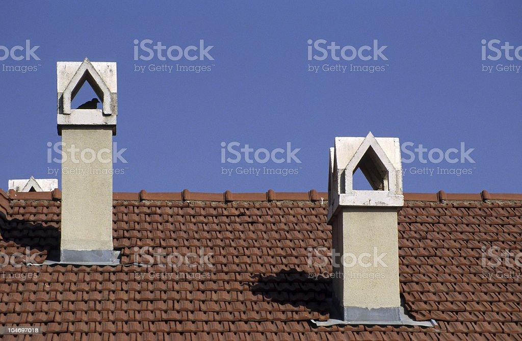 Roof of house against sky, Zekeriyaköy, Istanbul, Turkey royalty-free stock photo