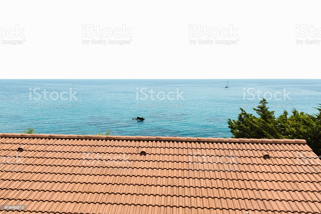 roof of house by the sea stock photo