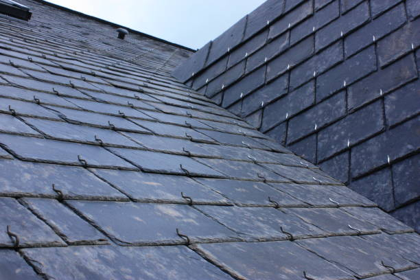 roof of house in slate tiles - slate rock stock photos and pictures