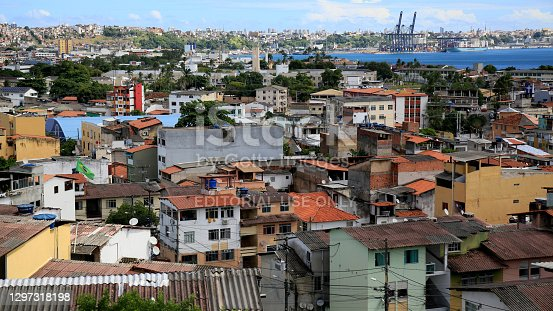 salvador, bahia, brazil - january 17, 2021: viata houses in the Boa Viagem neighborhood in the ciade Baixa region in the city of Salvador.
