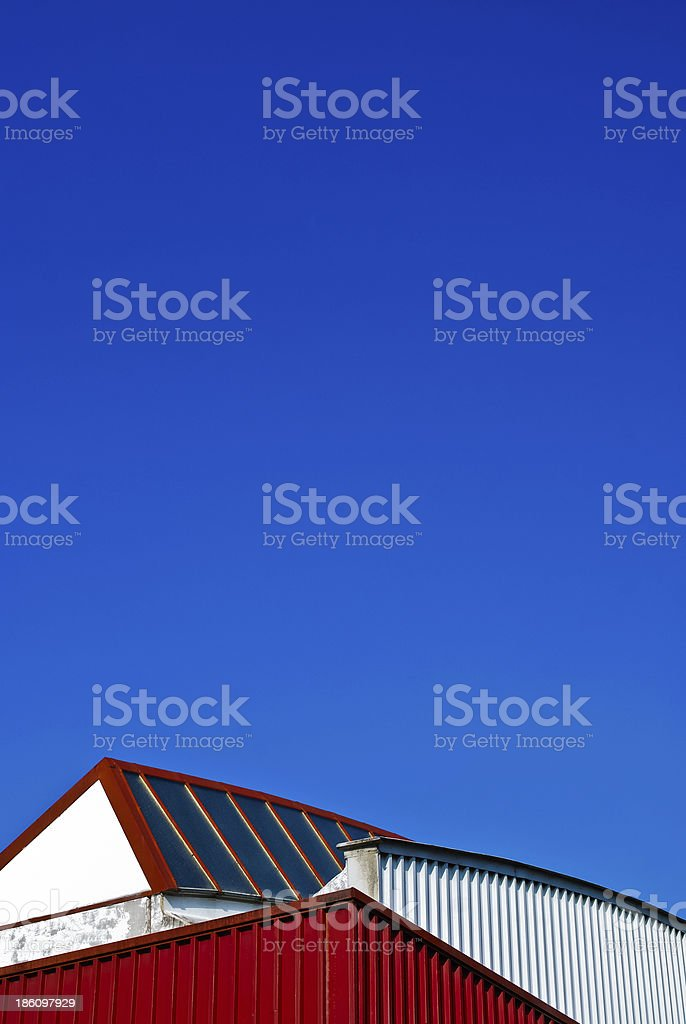 Roof of industrial building stock photo
