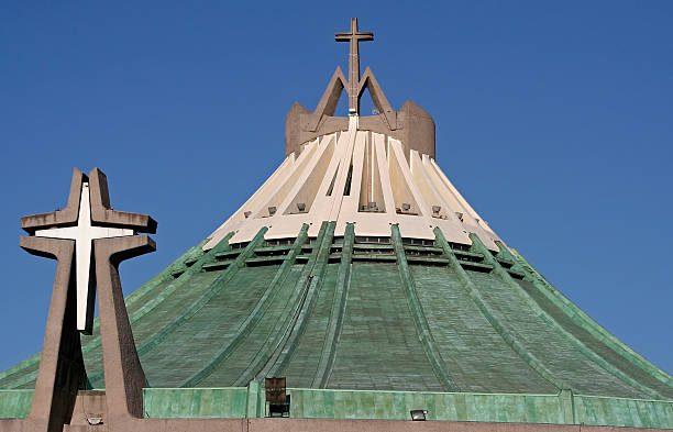 Roof of modern church Basilica de Guadalupe stock photo