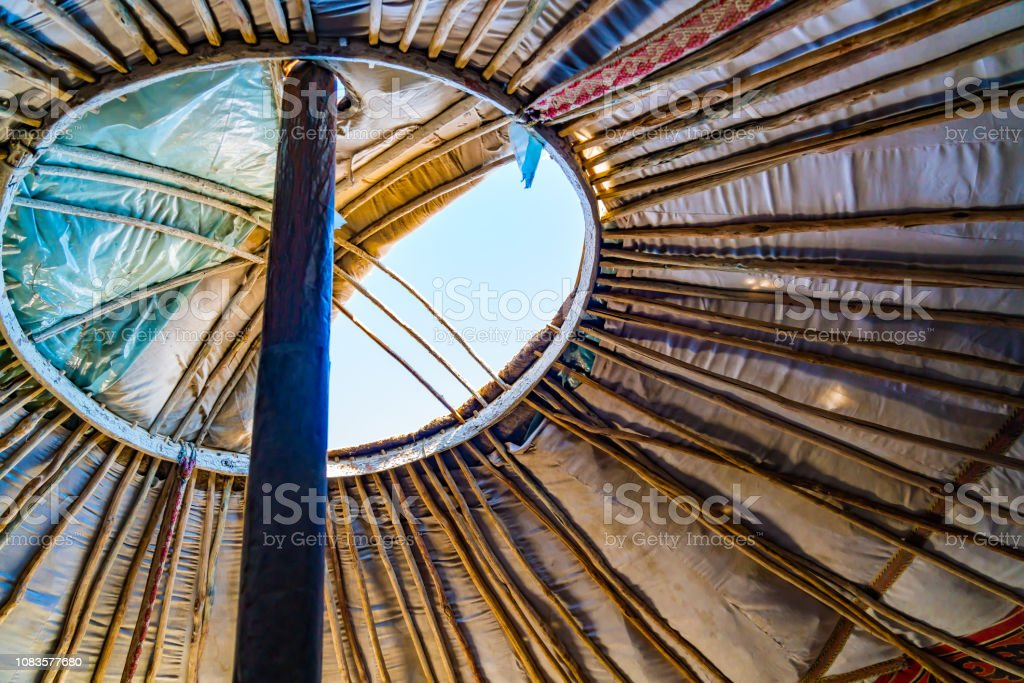 Roof of Mongolian Ger can open for good ventilation - Royalty-free Air Duct Stock Photo