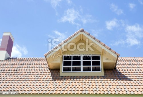 istock Roof of new detached houses against blue sky. 489220357